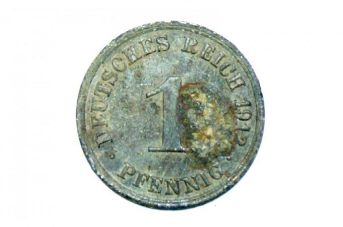 1 Pfennig deutsches reich 1912 rueckseite zahl 2